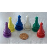 Set Of Six Plastic Game Board Pawns Game Pieces - $4.25