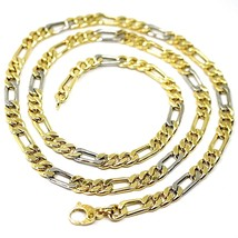 """18K YELLOW WHITE GOLD CHAIN BIG 6 MM ROUNDED FIGARO GOURMETTE ALTERNATE 3+1, 24"""" image 1"""