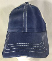 Baseball Hat Cap Blue White Adjustable Distressed Trucker Style - $14.85