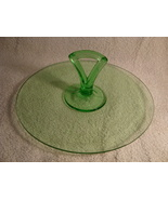 Serving tray w/ center Handle of green Vaseline glass circa 1930. - $15.00