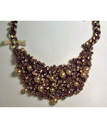 J.Crew Pearl-sprinkled Crystal Bib Statement Necklace - Metallic Blush - $55.00
