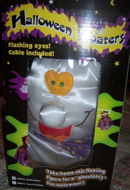 Halloween Floating Ghost Decoration Prop Sound Acitvated Eyes Light Up NEW