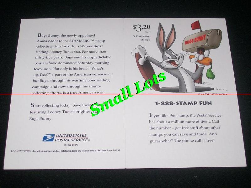 Pane Of 10 Bugs Bunny USA Stamps