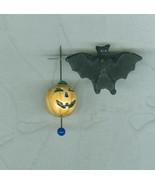 2 Not Too Scary Peruvian Porcelain Halloween Beads Pumpkin Bat - $5.00