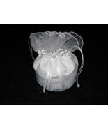 White Satin Bridal Wedding Money Bag Purse Cardholder with Pearl Accents... - $9.85