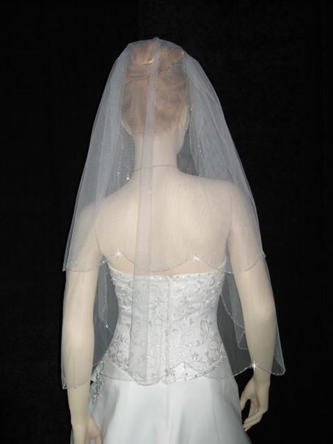 2T Ivory Wedding Bridal Veil Beaded Edge Crystal Drops v12i