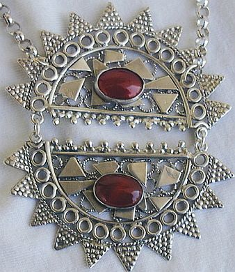 Red moon necklace duble