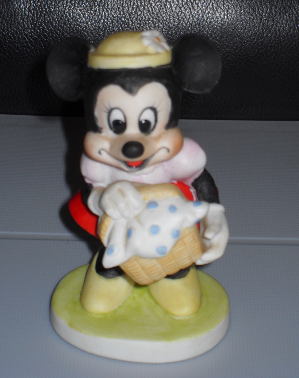 Primary image for Disney Minnie Mouse Holding Basket Porcelain Figurine