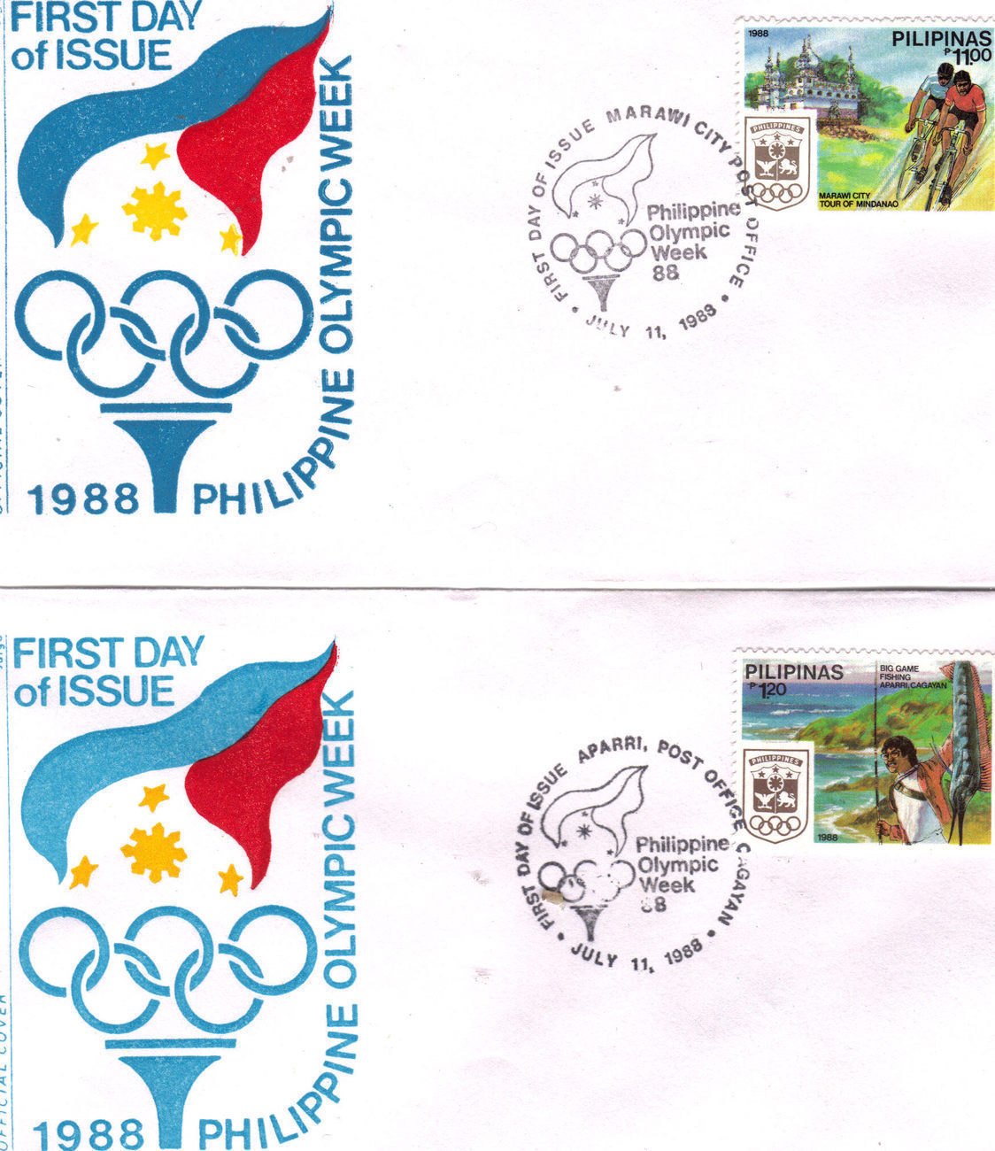 (6) 1988 PHILIPPINE OLYMPIC WEEK Official First Day Issue