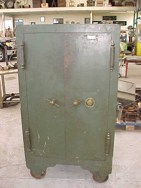ANTIQUE SAFE MADE BY THE HALL'S SAFE &  LOCK CO, 1885, 2 COMBINATIONS,1 KEY LOCK