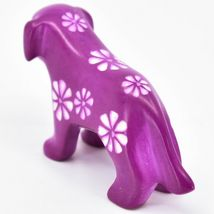 Vaneal Group Hand Carved Kisii Soapstone Fuchsia Standing Puppy Dog Figurine image 3