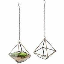 MyGift 5-Inch Hanging Glass & Metal Frame Pyramid Terrarium Planter, Set... - $52.99