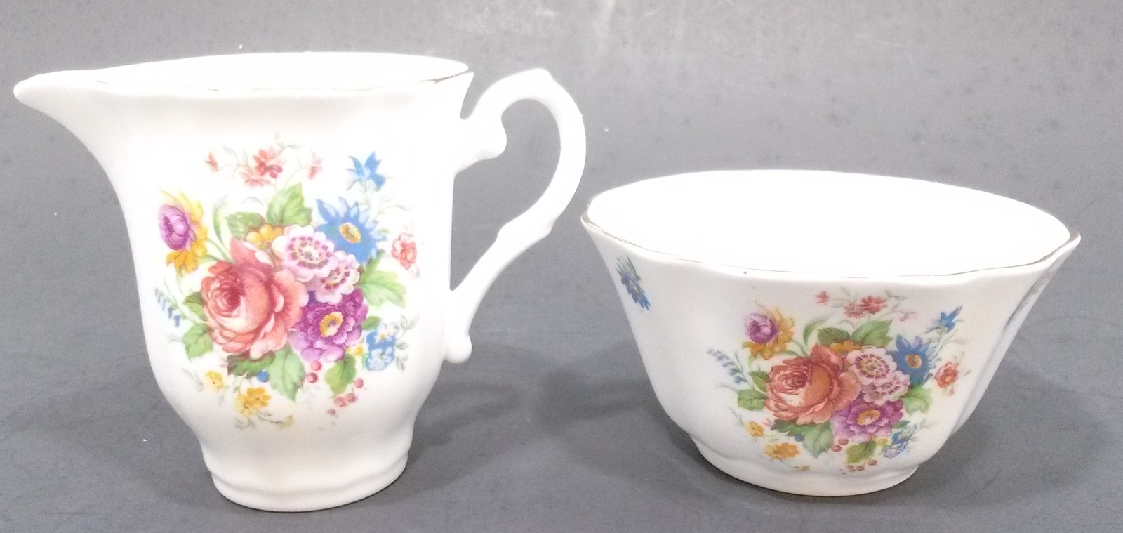 Royal Grafton Mini Creamer/Open Sugar Bowl Bone China Pink Rose/Blue/Yellow Flow - $39.99