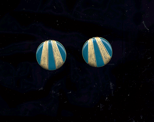 FREE WITH PURCHASE~Enameled Blue and Gold Round pierced POST vintage Earrings