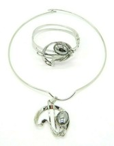 Pcraft Modernist Hematite Silver Tone Choker Necklace Bracelet Set Vinta... - $29.69