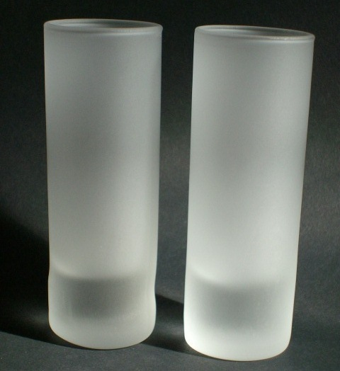 DOS (2) CUERVO TRADICIONAL TEQUILA TALL FROSTED SHOT GLASSES