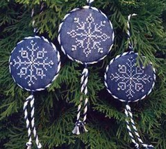Three Sparkling Snowflakes ornament + emb pack cross stitch  Gingerbread Girl - $18.90