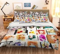 3D Woman Face Paint 26 Bed Pillowcases Quilt Duvet Single Queen King US Summer - $102.84+