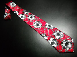 Steven Harris Neck Tie Soccer Balls and Nets on Bright Reds - $11.99