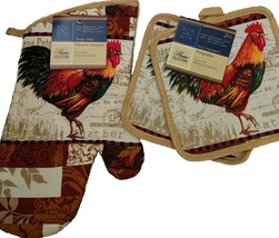 ROOSTER theme OVEN MITT SET 3-pc Oven Mitt Potholders French Country Beige NEW - $7.99
