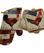 ROOSTER theme OVEN MITT SET 3-pc Oven Mitt Potholders French Country Bei... - $7.99