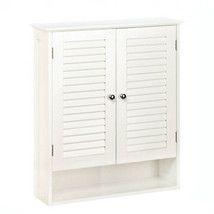Bathroom Wall Cabinets, White Wooden Shuttered Door Nantucket Wall Cabinet - $89.63