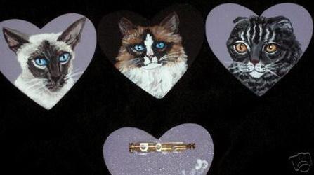 Ragamuffin Cat Custom Painted Pin Brooch