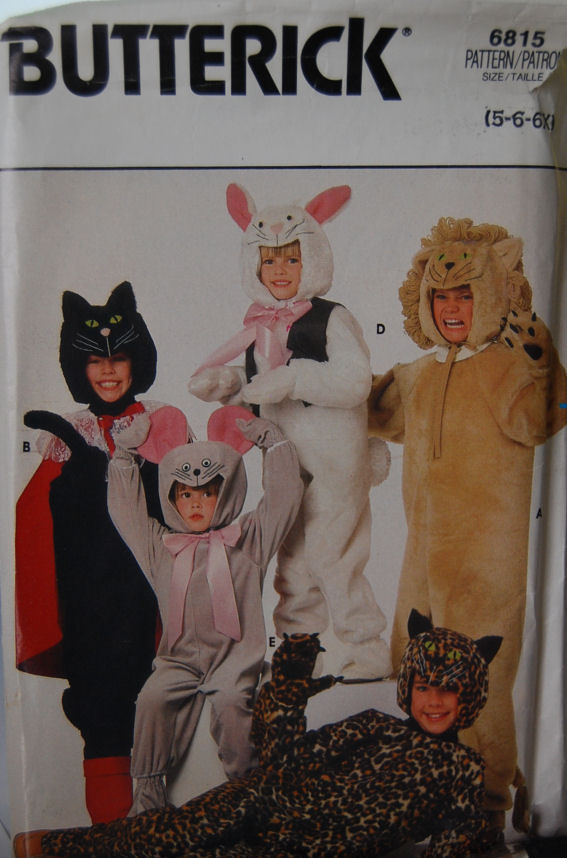 Animal Costume pattern 6815 sz 5,6,6X Wild Cats, Bunny
