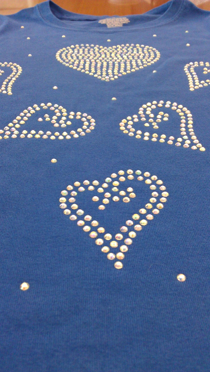 Kids Big Hearts ~ Rhinestone Crystal Sparkle Kids Tee Custom Color/Size