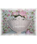 Sweet Shabby Wicker Wall Pocket w/ Carved Rose - $12.95