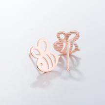 5 pairs of Bee Rose Gold Plated Stud Earring Stud (NED245B) - $12.50