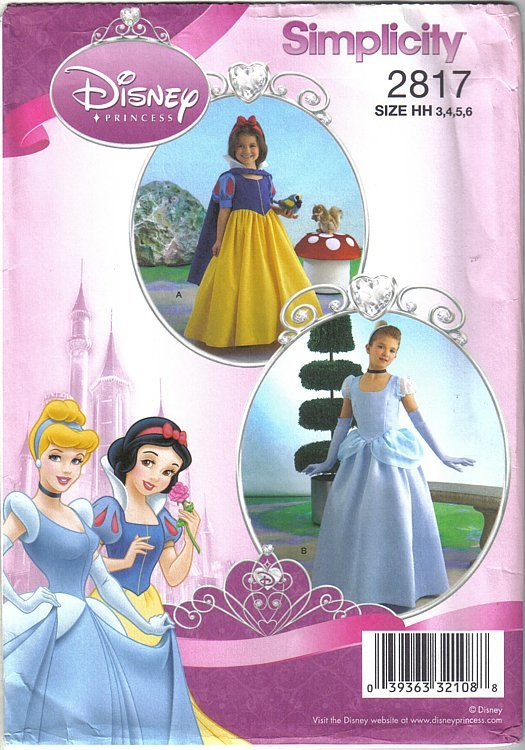 Primary image for Simplicity 2817 Disney Princess Costumes Girls Szs 3 to 6