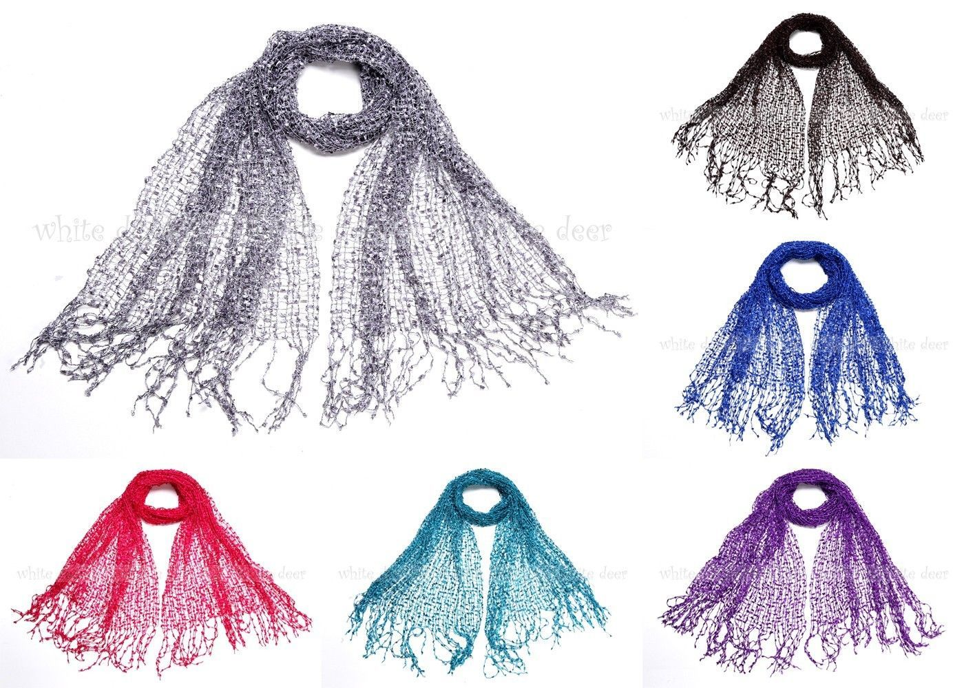 "Primary image for 64"" Wide Confetti Spring Summer Scarf Knit Plain Solid Color Fringe Fashion Cool"