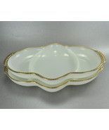 Vintage Fire King Set 2 White Divided Relish Trays Gold Trim - $15.00