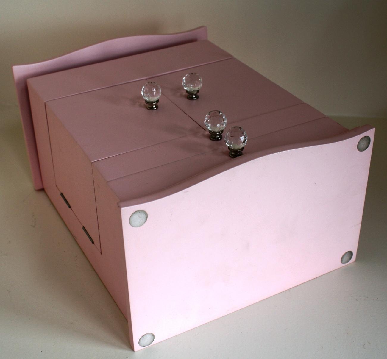 Pottery Barn Kids Teens Jewelry Box Medium Size Pink Wood