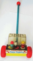 1969 Fisher Price HAPPY HOPPERS Rolling Toy Vintage Wood #121 No String 1960s - $14.75