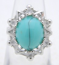 VTG UNCAS Sterling Silver .925 Clear Rhinestone Turquoise Glass Cabochon... - $39.60