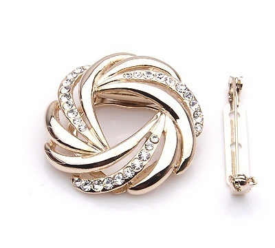 Diamond Simulants Golden Whirlpools scarves buckle Brooches