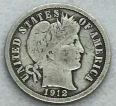 1912-D 90% Silver Barber Dime Very Good - $12.98