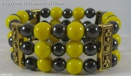 Pittsburgh Steelers Colors/Hematite/Antique Gold Bracelet - $16.95