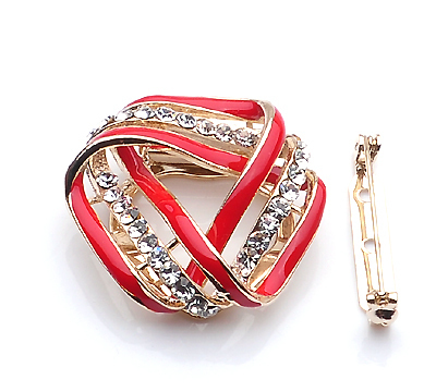 Diamond Simulants Red Twist Triangle scarves buckle Brooch