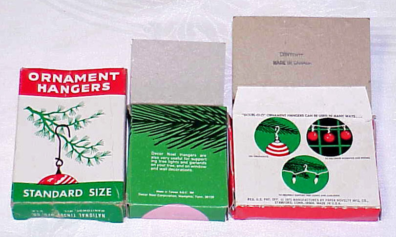 3 Vintage Christmas Tree Ornament Hanger Boxes
