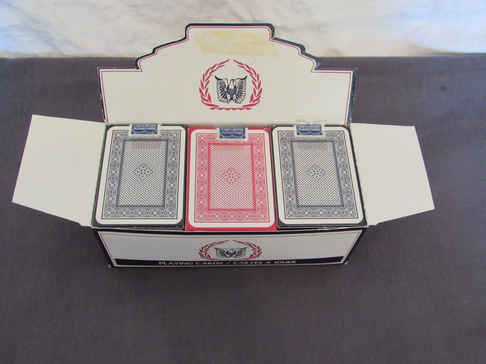 Lot Carta Mundi Eagle Brand Playing Cards Case of 12 Decks Blue & Red NEW
