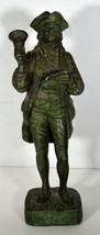 """12"""" Vintage 1964 Metal Statue Town Crier AUSTIN PROD. Americana Green Pa... - $85.49"""