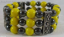 Pittsburgh Steelers Colors/Hematite/ Antique Silver Bracelet - $16.95