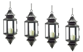 Four (4) black hanging Asian metal glass patio deck candle holder lanter... - $35.00