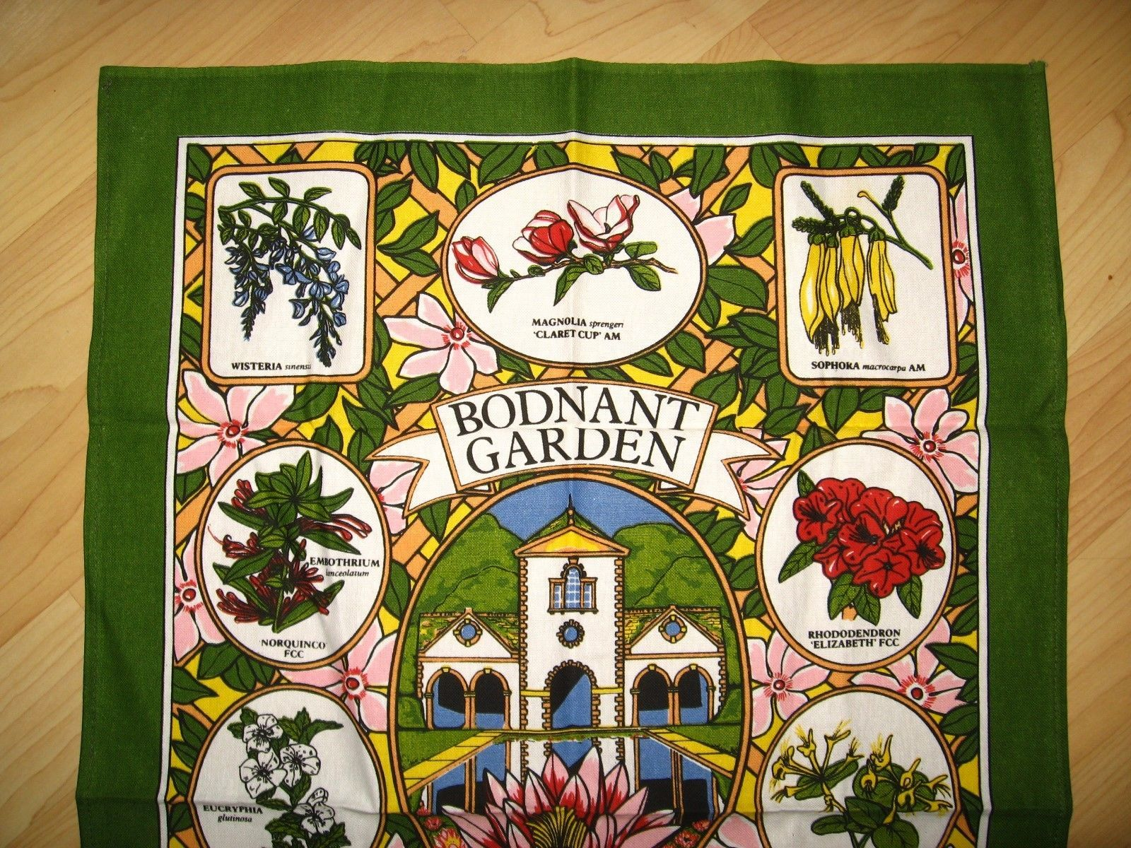 Bodnant Garden Souvenir Tea Towel - Vintage Sally Jane Textiles Colwyn Bay Wales image 2