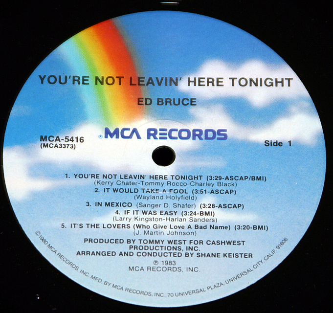 """Ed Bruce """"You're Not Leavin' Here Tonight"""" Promo LP"""