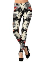 Two-Tone Splatt and Paint Strokes Printed Legging - $15.99