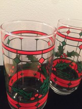 Vintage 70s Stained glass holly Christmas cocktail glasses image 3